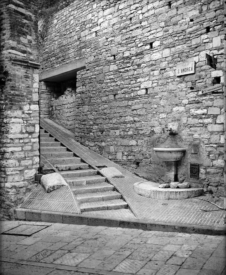 """""""Fountain and Stairs""""<br /> Assisi, Italy<br /> 2015<br /> <br /> An old fountain sits at the base of a stairway, which leads to the next street in Assisi, Italy.<br /> <br /> 4 x 5 Large Format Film"""