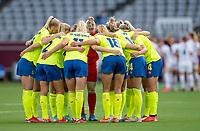 TOKYO, JAPAN - JULY 21: Sweden huddles during a game between Sweden and USWNT at Tokyo Stadium on July 21, 2021 in Tokyo, Japan.
