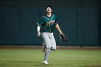 Greensboro Grasshoppers right fielder Will Matthiessen (46) tracks a fly ball during the game against the Winston-Salem Dash at Truist Stadium on August 11, 2021 in Winston-Salem, North Carolina. (Brian Westerholt/Four Seam Images)