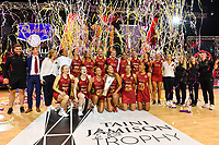 24th September 2021: Christchurch, New Zealand;  England celebrates winning the Cadbury Netball Series/Taini Jamison Trophy, New Zealand Silver Ferns versus England Roses, Christchurch Arena, Christchurch, New Zealand