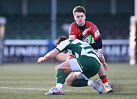 20th February 2021; Trailfinders Sports Club, London, England; Trailfinders Challenge Cup Rugby, Ealing Trailfinders versus Doncaster Knights; Steven Shingler of Ealing Trailfinders tackles Tom Bacon of Doncaster Knights