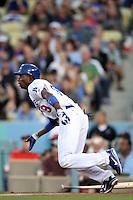 Los Angeles Dodgers shortstop Dee Gordon #9 bats against the Detroit Tigers at Dodger Stadium on June 21, 2011 in Los Angeles,California. (Larry Goren/Four Seam Images)