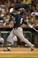 Diego Seastrunk #5 of the Rice Owls follows through on his swing versus the Texas A&M Aggies in the 2009 Houston College Classic at Minute Maid Park February 28, 2009 in Houston, TX.  The Owls defeated the Aggies 2-0. (Photo by Brian Westerholt / Four Seam Images)