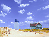 Race Point Lighthouse, Provincetown,<br /> Cape Cod Lighthouse, Photo of Race Point, Lighthouse along with the lightkeepers cottage