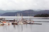 Haida Gwaii (Queen Charlotte Islands), Northern BC, British Columbia, Canada - Commercial Fishing Boats and Pleasure Boats docked at Marina, Queen Charlotte City, Graham Island