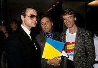 Montreal (Qc) CANADA - March 1986 - Mose Znaimer, Douglas Coco Leopold, Marc Carpentier at the  news conference to announce the french version of Much Music : Much Music en Francais later named Musique PLus,