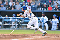 Asheville Tourists left fielder Tyler Bugner (27) swings at a pitch during a game against the Columbia Fireflies at McCormick Field on August 3, 2018 in Asheville, North Carolina. The Fireflies defeated the Tourists 6-3. (Tony Farlow/Four Seam Images)