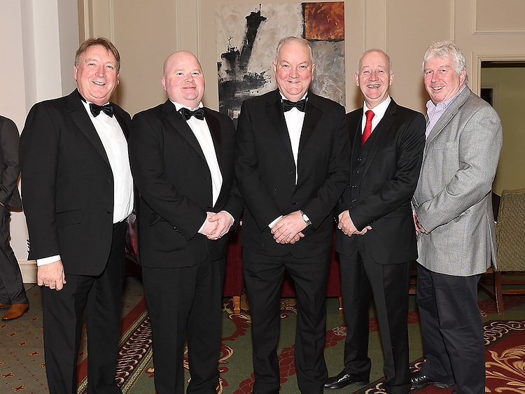 Joe Finegan, Niall Kerr, John Caffrey, Dermot Caffrey and Aidan Weldon pictured at the Ardee Traders Awards night in the Nuremore hotel Carrickmacross. Photo:Colin Bell/pressphotos.ie