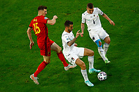 Thomas Meunier of Belgium, Leonardo Spinazzola and Marco Verratti of Italy compete for the ball during the Uefa Euro 2020 round of 8 football match between Belgium and Italy at football arena in Munich (Germany), July 2nd, 2021. Photo Matteo Ciambelli / Insidefoto