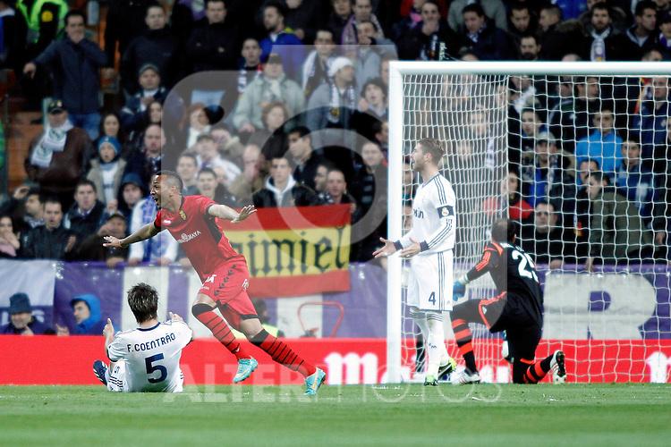 RCD Mallorca's Nsue scores goal during La Liga BBVA match. March 16, 2013.(ALTERPHOTOS/Alconada)