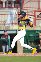 Burlington Abejas Jordyn Adams at bat during a Midwest League game against the Lake County Captains on July 13, 2019 at Community Field in Burlington, Iowa.  Lake County defeated Burlington 3-2.  (Travis Berg/Four Seam Images)