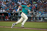 Kevin Woodall Jr. #19 of the Coastal Carolina Chanticleers runs during a College World Series Finals game between the Coastal Carolina Chanticleers and Arizona Wildcats at TD Ameritrade Park on June 28, 2016 in Omaha, Nebraska. (Brace Hemmelgarn/Four Seam Images)