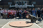 World Champion Marbles Championship Good Friday Tinsley Green Sussex UK. Played outside the Greyhound pub. German player Andreas Hilderbrandt.
