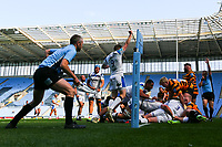 25th April 2021; Ricoh Arena, Coventry, West Midlands, England; English Premiership Rugby, Wasps versus Bath Rugby; Will Chudley of Bath Rugby celebrates as his team drive over for a try