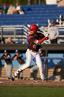 Batavia Muckdogs center fielder Ricardo Cespedes (47) at bat during a game against the West Virginia Black Bears on August 5, 2017 at Dwyer Stadium in Batavia, New York.  Batavia defeated West Virginia 3-2.  (Mike Janes/Four Seam Images)
