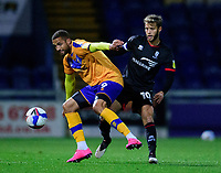 Lincoln City's Jorge Grant battles with Mansfield Town's Jordan Bowery<br /> <br /> Photographer Andrew Vaughan/CameraSport<br /> <br /> EFL Trophy Northern Section Group E - Mansfield Town v Lincoln City - Tuesday 6th October 2020 - Field Mill - Mansfield  <br />  <br /> World Copyright © 2020 CameraSport. All rights reserved. 43 Linden Ave. Countesthorpe. Leicester. England. LE8 5PG - Tel: +44 (0) 116 277 4147 - admin@camerasport.com - www.camerasport.com