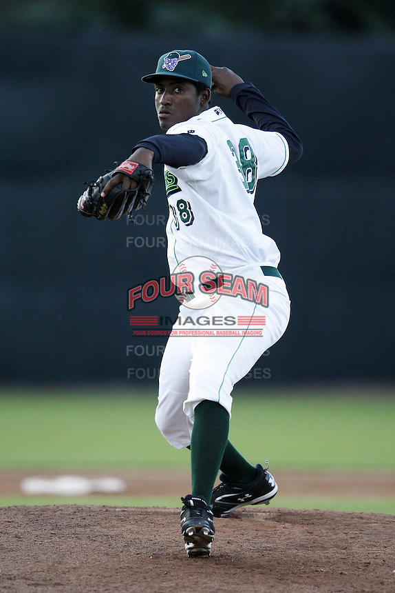 June 23, 2009:  Pitcher Arquimedes Caminero of the Jamestown Jammers delivers a pitch during a game at Russell Diethrick Park in Jamestown, NY.  The Jammers are the NY-Penn League Short-Season Class-A affiliate of the Florida Marlins.  Photo by:  Mike Janes/Four Seam Images