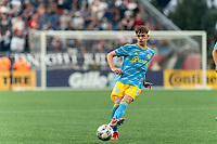FOXBOROUGH, MA - AUGUST 8: Jack McGlynn #16 of Philadelphia Union passes the ball during a game between Philadelphia Union and New England Revolution at Gillette Stadium on August 8, 2021 in Foxborough, Massachusetts.