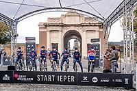 Mathieu Van der Poel (NED/Alpecin-Fenix) interviewed at the team presentation<br /> <br /> 82nd Gent-Wevelgem in Flanders Fields 2020 (1.UWT)<br /> 1 day race from Ieper to Wevelgem (232km)<br /> <br /> ©kramon