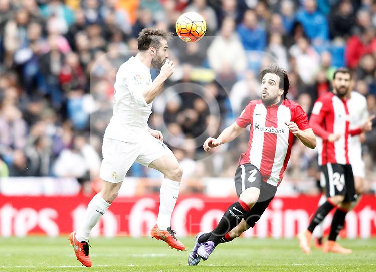 Real Madrid's Daniel Carvajal (l) and Athletic de Bilbao's Benat Etxebarria during La Liga match. February 13,2016. (ALTERPHOTOS/Acero)