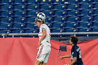 FOXBOROUGH, MA - AUGUST 21: Scott Thomsen #3 of Richmond Kickers heads the ball during a game between Richmond Kickers and New England Revolution II at Gillette Stadium on August 21, 2020 in Foxborough, Massachusetts.