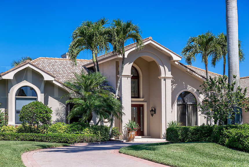 Typical home in one of the many  gated communities within the Naples, area, Florida, USA.