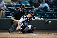 Winston-Salem Dash catcher Zack Collins (8) catches a pitch as home plate umpire Ryan Wilhelms looks on during the game against the Buies Creek Astros at BB&T Ballpark on April 15, 2017 in Winston-Salem, North Carolina.  The Astros defeated the Dash 13-6.  (Brian Westerholt/Four Seam Images)
