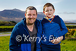Young Tommy Jones taking his dad Tommy for a walk in Blennerville on Tuesday.