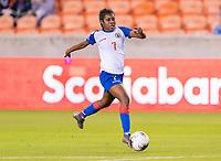 HOUSTON, TX - FEBRUARY 3: Batcheba Louis #7 of Haiti dribbles during a game between Panama and Haiti at BBVA Stadium on February 3, 2020 in Houston, Texas.