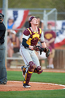 Minnesota Golden Gophers catcher Eli Wilson (4) attempts to make a play on a foul ball during a game against the Boston College Eagles on February 23, 2018 at North Charlotte Regional Park in Port Charlotte, Florida.  Minnesota defeated Boston College 14-1.  (Mike Janes/Four Seam Images)