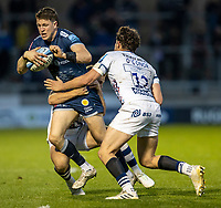 28th May 2021; AJ Bell Stadium, Salford, Lancashire, England; English Premiership Rugby, Sale Sharks versus Bristol Bears; Sam James of Sale Sharks is tackled by Piers O'Conor of Bristol Bears
