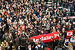 Members of Civil Society and delegates from countries from COP 15 stage a protest inside the Bella Center. The individuals were from a diverse range of groups and marched out to join the Reclaim the Power action outside of the COP. They  were protesting the current stage of talks and the current lockout of civil society from the COP.  (Images provided for editorial web usage for members of the Fresh Air Center during COP 15. Credit: Robert vanWaarden)