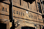 Late afternoon sun on the facade of Al Caffe Greco near the Spanish Steps.