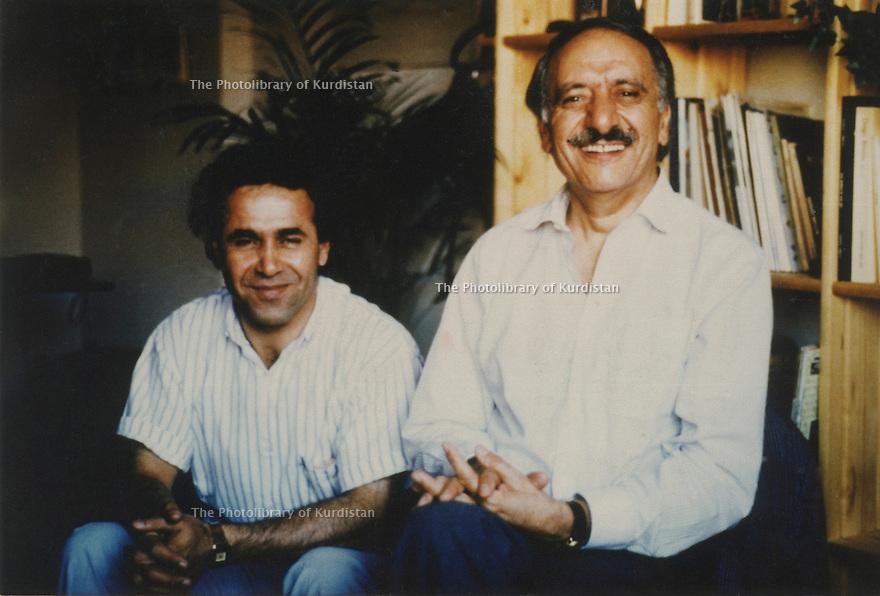 Spain 1986. Right, Abdul Rahman Ghassemlou and Abdullah Ghaderi in Madrid<br /> <br /> Espagne 1986. Abdul Rahman Ghassemlou et Abdullah Ghaderi à Madrid