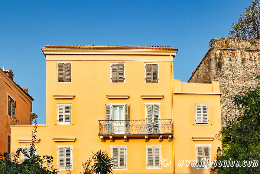 A building at the old town of Corfu, Greece