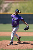 Colorado Rockies relief pitcher Derrik Watson (56) delivers a pitch to the plate during an Extended Spring Training game against the Chicago Cubs at Sloan Park on April 17, 2018 in Mesa, Arizona. (Zachary Lucy/Four Seam Images)