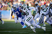 New York Jets Rontez Miles (45) runs up field after recovering a blocked field goal during an NFL football game against the Buffalo Bills, Sunday, December 9, 2018, in Orchard Park, N.Y.  (Mike Janes Photography)