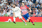 Real Madrid Dani Carvajal and Atletico de Madrid Nikola Kalinic during La Liga match between Real Madrid and Atletico de Madrid at Santiago Bernabeu Stadium in Madrid, Spain. September 29, 2018. (ALTERPHOTOS/Borja B.Hojas)