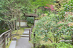 Garden walkway.  The Japanese Garden in Portland is a 5.5 acre respit.  Said to be one of the most authentic Japanese Garden's outside of Japan, the rolling terrain and water features symbolize both peace and strength. Public, city facility
