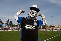 Earthquakes fan with pro wrestling mask shows his fists on the field at Buck Shaw Stadium in Santa Clara, California on April 7th, 2012.  San Jose Earthquakes defeated Vancouver Whitecaps, 3-1.
