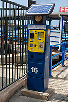 Willemstad, Curacao, Lesser Antilles.  Solar Powered Parking Meter Station.