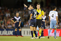 MELBOURNE, AUSTRALIA - FEBRUARY 18, 2010: Nik Mrdja from Melbourne Victory is shown a red card and is sent off in the first leg of the A-League Major Semi Final match between the Melbourne Victory and Sydney FC at Etihad Stadium on February 18, 2010 in Melbourne, Australia. Photo Sydney Low www.syd-low.com