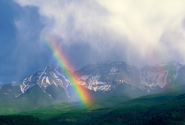 Rainbow over the Sneffels Range, San Juan Mountains, Ridgeway, Colorado.