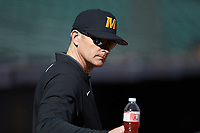 Missouri Tigers head coach Steve Bieser prior to the game against the Baylor Bears in game one of the 2020 Shriners Hospitals for Children College Classic at Minute Maid Park on February 28, 2020 in Houston, Texas. The Bears defeated the Tigers 4-2. (Brian Westerholt/Four Seam Images)