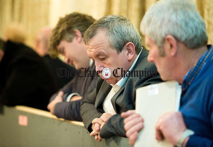 """A clearly disappointed Michael """"Malty"""" Mc Donagh, Fianna Fail, at theGE2016 count. Photograph by John Kelly."""