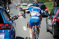 Marco Minnaard (NLD/Wanty-Groupe Gobert) getting supplied by the team car<br /> <br /> 55th Brabantse Pijl 2015