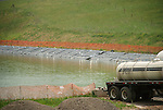 Fresh water holding pond and tanker truck. Chief Oil and Gas. Lycoming county...........................................