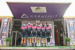 Bepink at sign on before the start of Stage 1 of the CERATIZIT Challenge by La Vuelta 2020, running 82.8km from Toledo to Escalona, Spain. 6th November 2020.<br /> Picture: Antonio Baixauli López/BaixauliStudio | Cyclefile<br /> <br /> All photos usage must carry mandatory copyright credit (© Cyclefile | Antonio Baixauli López/BaixauliStudio)