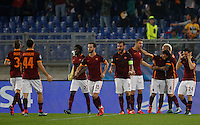 Calcio, Champions League, Gruppo E: Roma vs Bayer Leverkusen. Roma, stadio Olimpico, 4 novembre 2015.<br /> Roma's Mohamed Salah, third from right, celebrates with teammates after scoring during a Champions League, Group E football match between Roma and Bayer Leverkusen, at Rome's Olympic stadium, 4 November 2015.<br /> UPDATE IMAGES PRESS/Riccardo De Luca