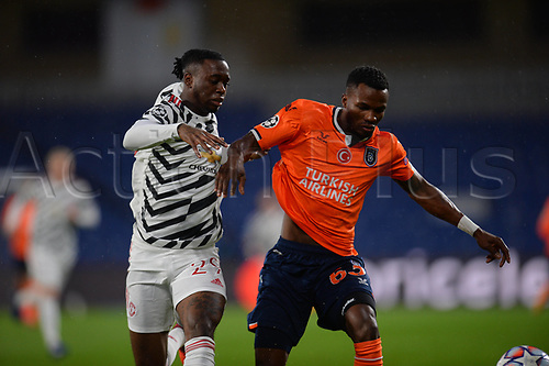 4th November 2020, Basaksehir Fatih Stadium, Istanbul, Turkey; UEFA Champions League football,  Basaksehir versus manchester United;   Boli Bolingoli-Mbombo of Basaksehir and Aaron Wan-Bissaka of Manchester United